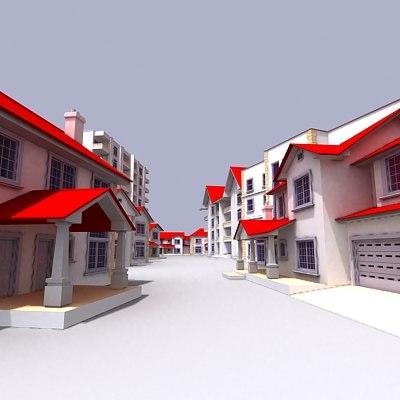residential houses 3d model
