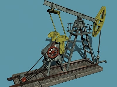 animation oil pump 3d model