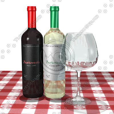 white red wine glass 3d model