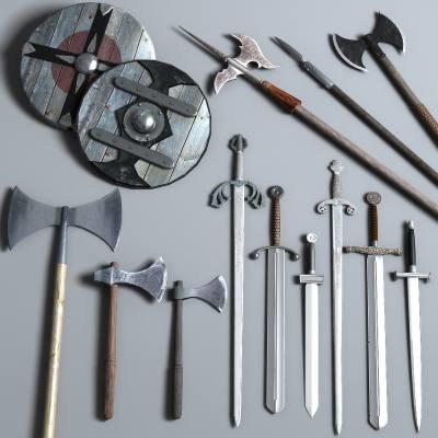 3d model weapon steel axe