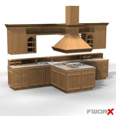 kitchen cabinet stove 3d model