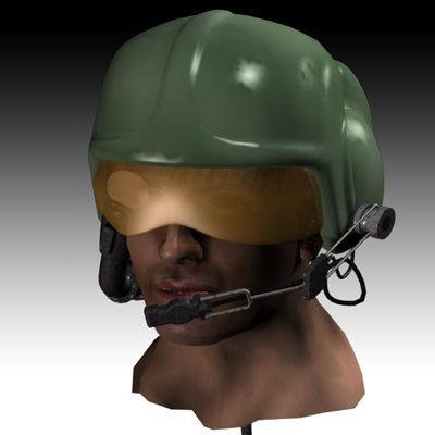 helicopter pilot helmet 3d model