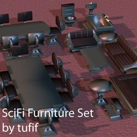 3d scifi furniture set