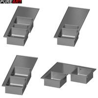3d model washbasin kitchen v1