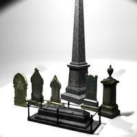 3d gravestone tomb model
