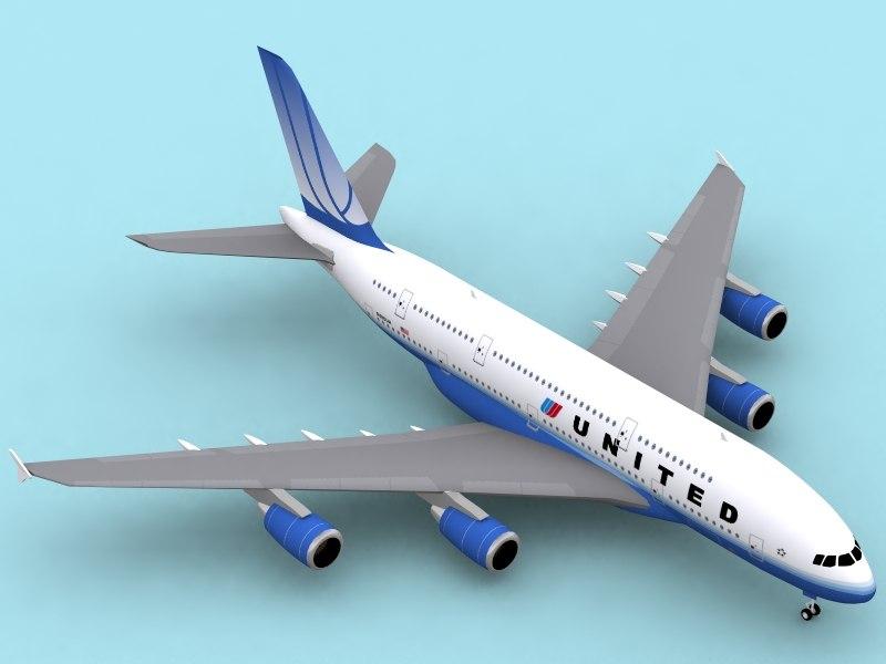 3d airbus a380-800 new colors model