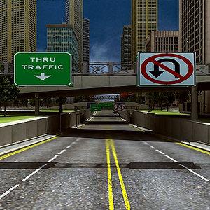 buildings road 3d model
