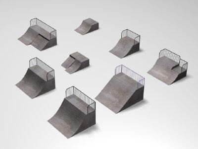quarter ramps skate park 3d model