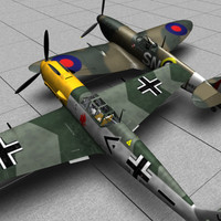 messerschmitt spifire plane 3d model
