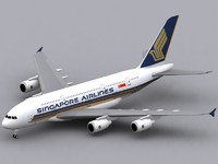 3d airbus a380-800 singapore a380