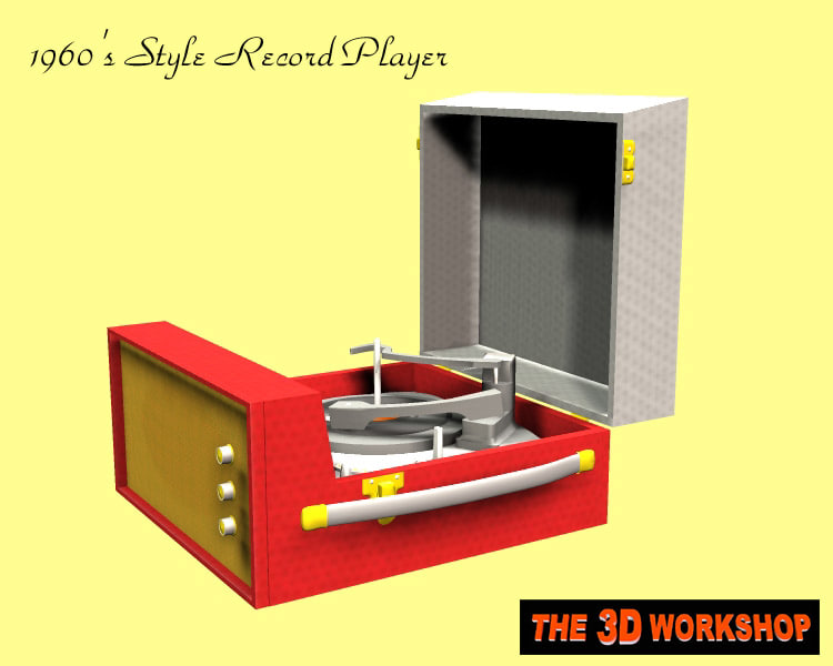 1960 s record player 3d model