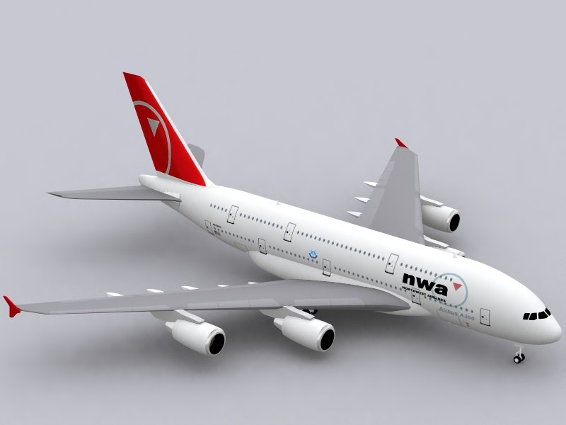 3d airbus a380-800 northwest a380