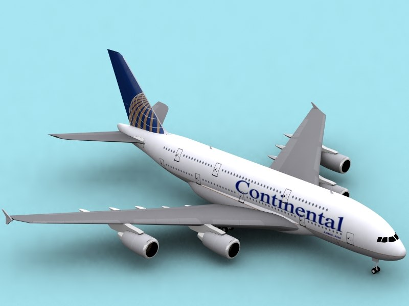 3d airbus a380-800 continental airlines