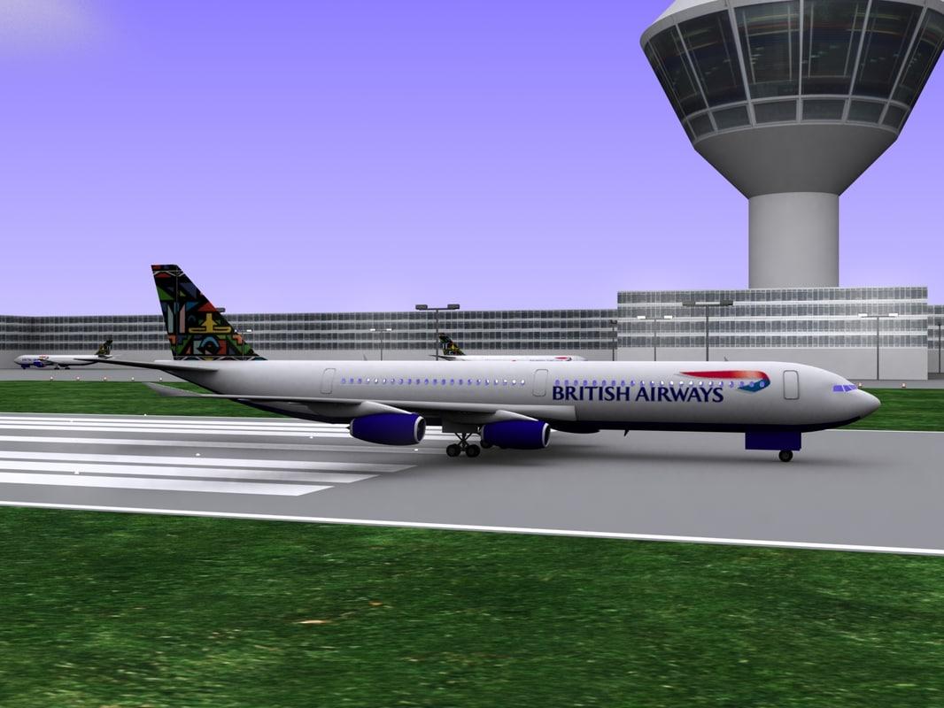 british airways airbus a340-300 3d model