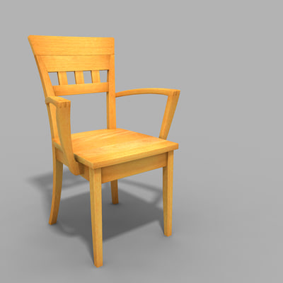 3ds max arm-chair wooden linz
