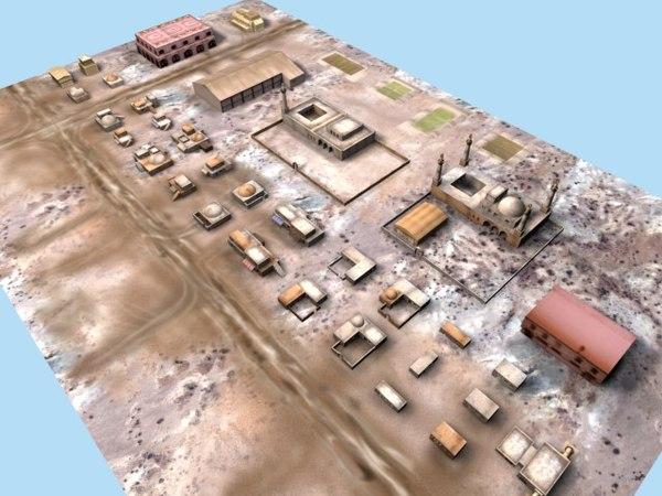 arab desert buildings 3d model