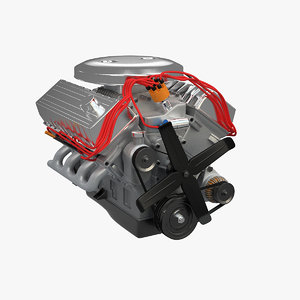 generic v8 petrol engine 3d model