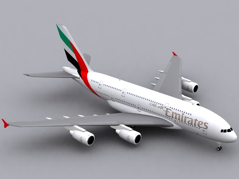 3d model airbus a380-800 emirates a380