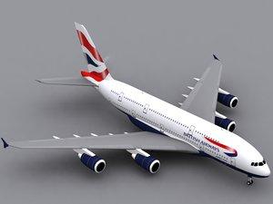 airbus a380-800 british airways 3d max