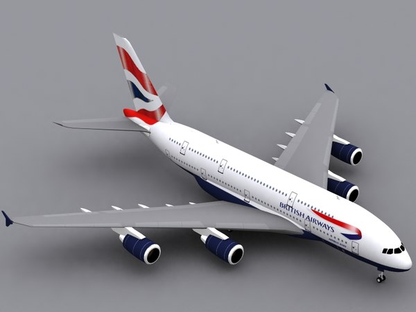 airbus a380-800 british airways 3d max