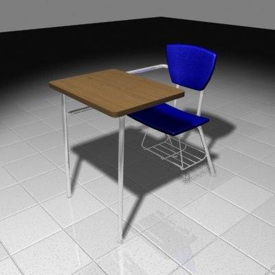 student school desk 3d ma