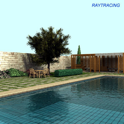 Swimming pool garden 3d model for Swimming pool 3d model free download