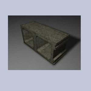 3d decayed cinder block model