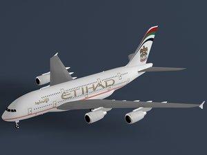 3dsmax airbus a380-800 etihad a380