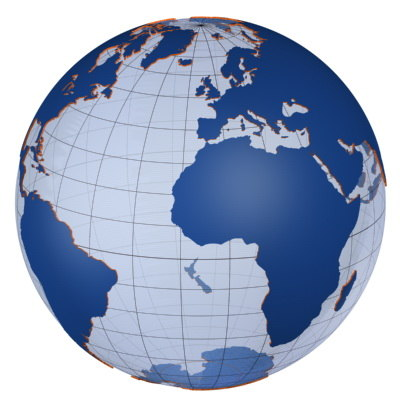 globe continents 3d model