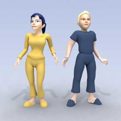 boy girl cartoon 3d model