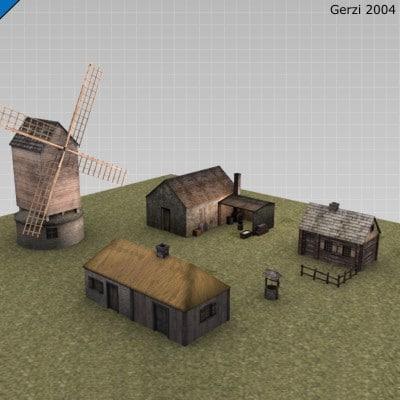 3d medieval town 02 model