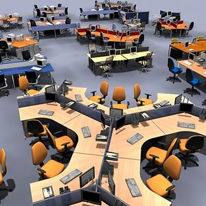 office workstation 3d model