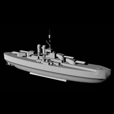 ww1 battleship monarch 3d model