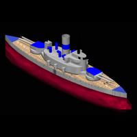 coastal battleship 3d model