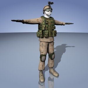 military soldier 3d max