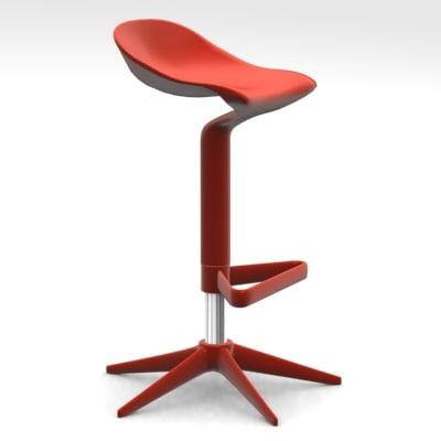 spoon stool antonio citterio 3d model