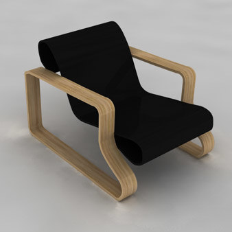 chair alvaro aalto 3d model