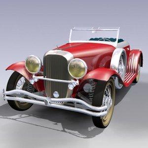 antique roadster 3d max