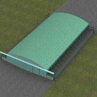 j type aircraft hangar 3d model