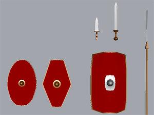 shield legionary praetorian 3d model