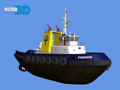 tug ship cargo 3d model