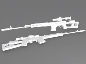 3d model dragunov rifle