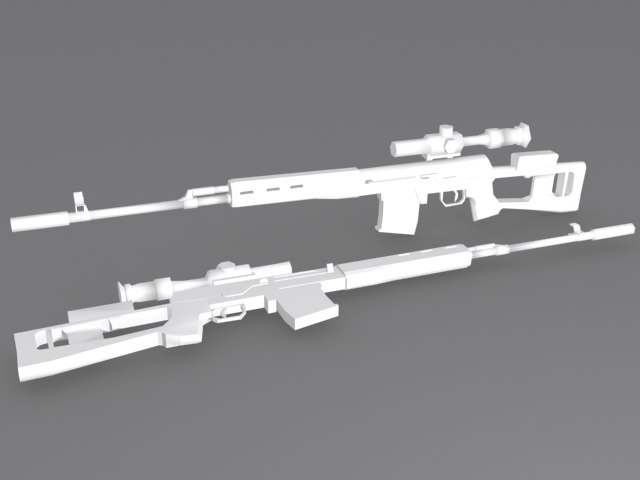 3d model dragunov rifle