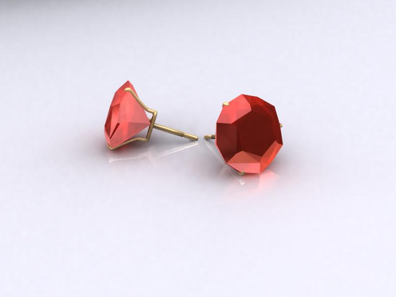 3dsmax earring ruby