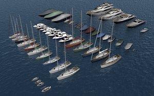 boats sailboats yachts 3d model