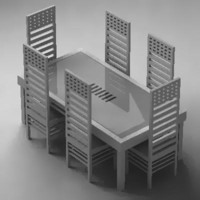 dining table chairs 3d 3ds