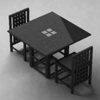dining table chairs mackintosh 3d max
