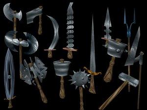 fantasy weapons axe battleaxe 3d model