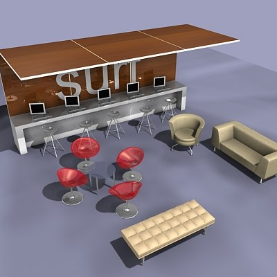 reception furniture 3d max