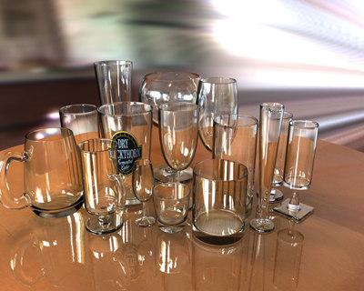 glassware pint glass 3d model